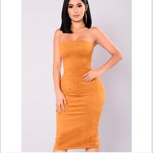 Mustard suede dress
